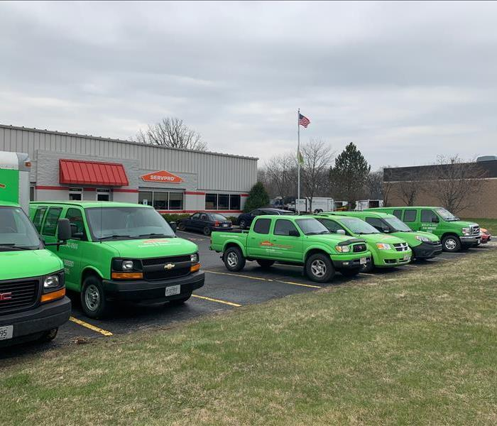 A fleet of SERVPRO vehicles