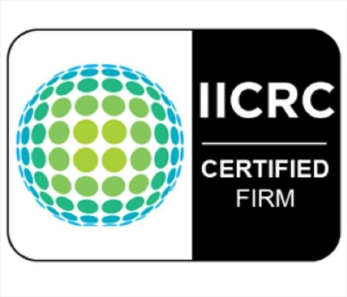 IICRC logo with IICRC Certified Firm next to it on white text