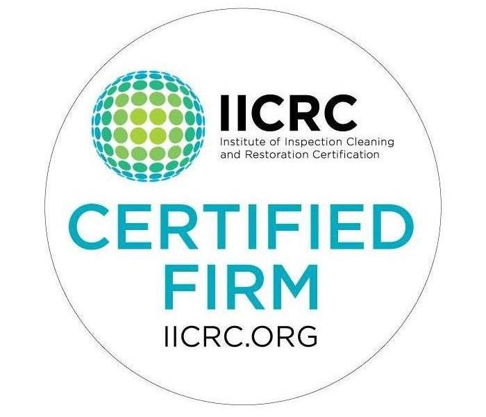 "IICRC Logo with the words ""Institute of Inspection Cleaning and Restoration Certification"" and the words ""Certified Firm"""