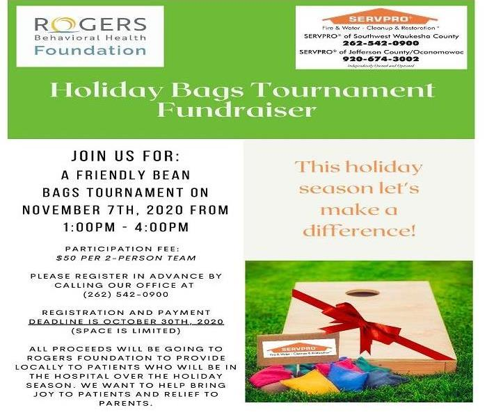 Flyer announcing the bags tournament fundraiser with all the details