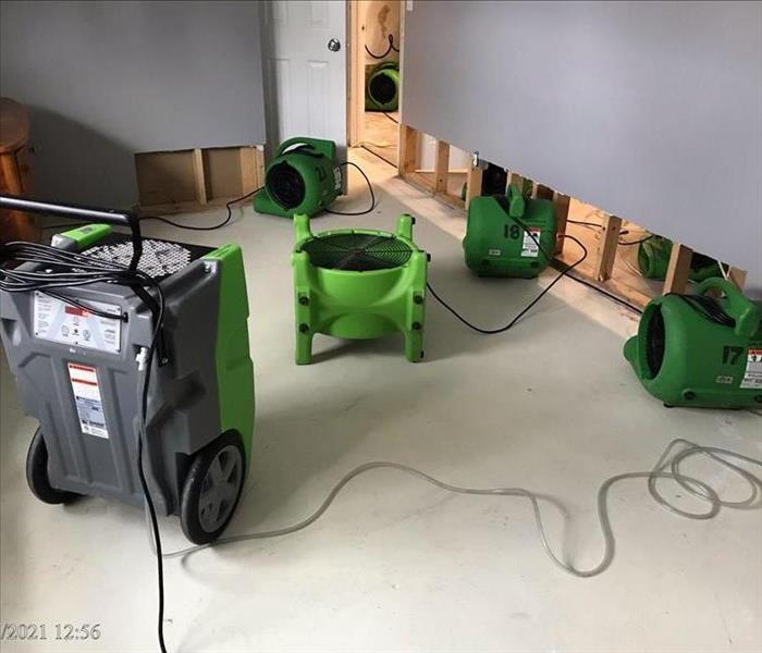 SERVPRO drying equipment placed on floor